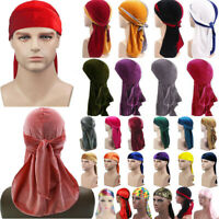 Men Women Breathable Bandana Hat Gold Velvet Durag Long Tail Headwrap Chemo Cap.