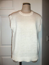 Vintage Perry Ellis America Cream Ramie Cotton Knit Sleeveless Sweater - M