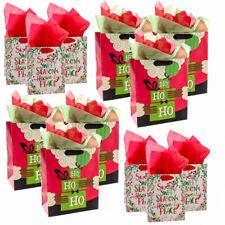 12pk Hallmark Black Santa Christmas Holiday Gift Bag Assortment Set Tags Tissue