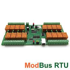 Modbus RTU USB VCP 16 Kanal Relaiskarte, 16 Relais Seriell - 12V