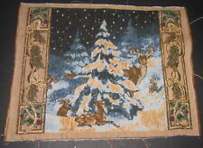 Forest Animals Around Christmas Tree Tapestry Pillow Top Fabric Piece