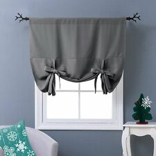 Nicetown Thermal Insulated Grey Blackout Curtain - Tie Up Shade for Small Window
