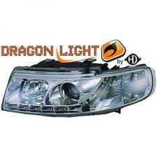 Scheinwerfer Set für Seat Leon 99-04 Klarglas/Chrom LED Dragon Lights