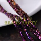 25pcs 6mm Cube Square Faceted Crystal Glass Loose Spacer Beads Purple Plated