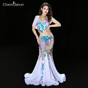 New Luxury Bing Bling Sequins Performance Belly Dance Costume 2Pcs Bra Skirt