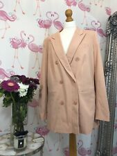 M&S Autograph Pink Double Breasted Pocket Long Boyfriend Blazer 14 Blogger Trend