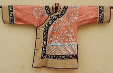 ANTIQUE CHINESE SILK HAND EMBROIDERED ROBE GOOD CONDITION (X302)