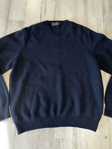 Vintage Brooks Brothers Shetland Wool Sweater Size L Dark Blue Made in England