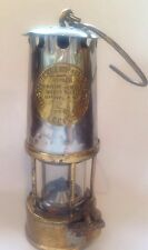 "ANTIQUE 9"" MINERS LAMP LANTERN PROTECTOR LIGHTING ECCLES  BRASS GLASS OIL"