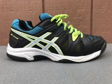 New listing WORN Asics Gel-Game Black/Blue/Yellow Youth US 5.5 Tennis Shoes C502Y Juniors C6