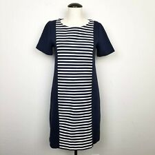 0214eb5ea7a J. Crew Shift Dress Size 2 Blue White Striped Stretch Knit Exposed Zipper