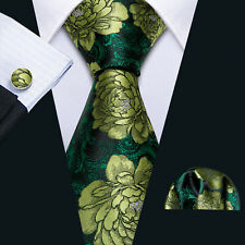 Mens Silk Ties Necktie Set Green Floral Pocket Square Cufflinks Novelty Wedding