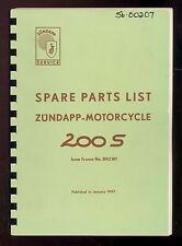 1957 ZUNDAPP 200S CHALLENGER MOTORCYCLE PARTS MANUAL