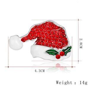 Fashion Christmas Tree Snowman Brooch Pin Crystal Santa Claus Xmas Party Jewelry