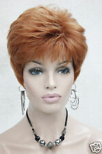 women's short straight synthetic  daily wig orange brown blonde 5 color choices