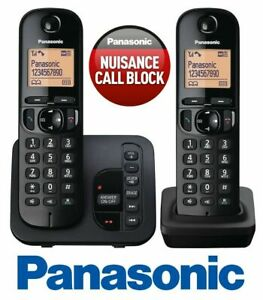 PANASONIC TGC222 CORDLESS QUAD PHONE WITH CALL BLOCK & ANSWERING MACHINE BLACK