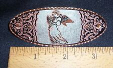 ANGEL/HARP DESIGN - HAND ENGRAVED COPPER BARRETTE W/SILVER PLATE & BLACK ENAMEL