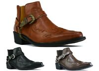 MENS MID CUBAN HEEL ANKLE SIDE BUCKLE CHAIN BOOTS UK SIZES