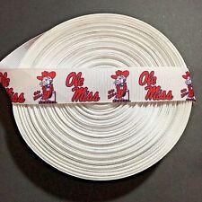 "1"" White Ole Miss Mississippi Rebels Grosgrain Ribbon by the Yard (Usa Seller!)"