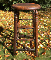 Antique Wood Bar Stool Tall Spindle  Turned Legs Primitive Stand Vintage Rustic
