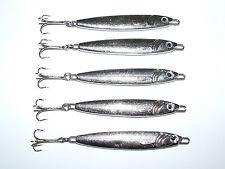 5 x 60 G Argento FFT SGOMBRI spigola merluzzo luccio Spinners Treble Hook PESCA BARCA
