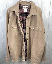 Men's Wrangler Rugged Wear Flannel Lined Khaki Jacket Coat Size XL