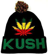KUSH Skull Cap Rasta Marijuana Weed Cuff Pom Beanie Winter Hat Cuffed New