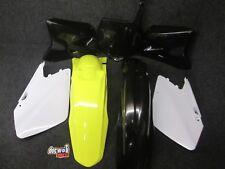 SUZUKI RM125 RM250 2001-2012 NUOVO X-FUN COMPLETO YEL / NERO KIT in plastica