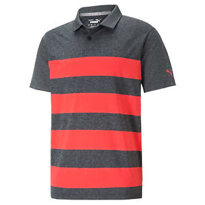 NEW Puma MATTR Kiwi Stripe Heather/Red Golf Polo/Shirt Mens Medium (M)