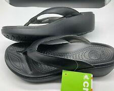 Crocs Capri Leather Flip Wedge Womens Size 10 Slip On Black Thong Sandals NWT!