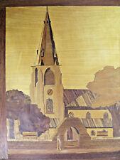 """VINTAGE marquetery intarsio in legno realizzato a mano Pannello, 11"""" 9"""" scena Chiesa"""