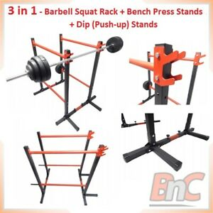 3in1 Adjustable Barbell Squat Rack Dip Stands Bench Press Push Up Power Rack 300