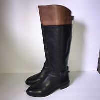 Gianni Bini Riding Boots Size 6 Brown Black Leather Side Zip Tall Knee High