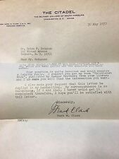 Mark W. Clark 4 Star General Hand Signed Letter Citadel Autograph WW2