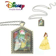 Disney Beauty and The Beast Ballroom Belle Stained Glass Antique Gold Necklace