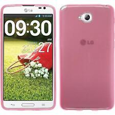 Funda de silicona LG G Pro Lite Dual transparente - rosa + protector de pantalla