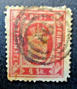 1871 Denmark S# O2, 4 Skilling thin paper Used stamp
