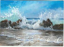 ACEO original miniature Seascape 808 ocean wave beach tropical Paul M Woodruff