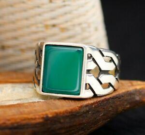 Jade Stone Knitting Design Solid 925 Sterling Silver Men Ring