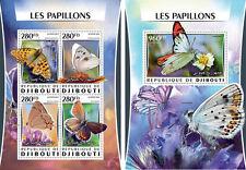 Gibuti Farfalle Insetti Fauna Nuovo senza Linguella Set Timbro