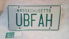 Massachusetts license plate 1982 UBF AH green Vintage Mint Never Used w/ sticker