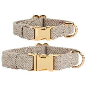 Thoroughbeds Grey Herringbone Dog/Puppy Collar Tweed Soft Fleece Adjustable Size