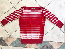 Size 10 Ladies Dark Pink Crimson & White Jumper 3/4 Sleeves Boat Neckline