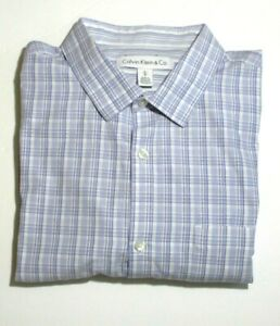 Calvin Klein & Co Mens Plaid Large Shirt Button Front Long Sleeves