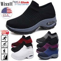 Women's Air Cushion Sneakers Mesh Walking Slip-On Running Gym Sport Shoes Size