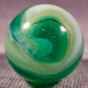 """BB Marbles: Akro Agate Limeade with Thin Oxblood. 5/8"""". Mint-. (DH5)"""