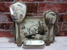 Vintage Oriental Ornate Chinese Vanity Dressing Table Set Tray Brush Mirror