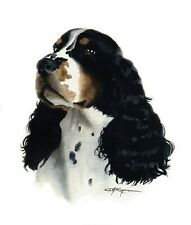 SPRINGER SPANIEL Dog Watercolor Painting 8 x 10 Art Print by Artist DJ Rogers