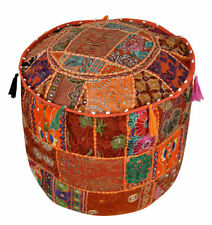 Vintage Pouf Ottoman Round Indian Ottoman Cover Poof Pouffe Foot Stool Ethnic