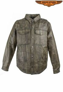 Men's Motorcycle Collared Distressed Brown Leather Shirt with Multiple Pockets